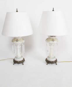 Pair of Victorian White Lustre Lamps
