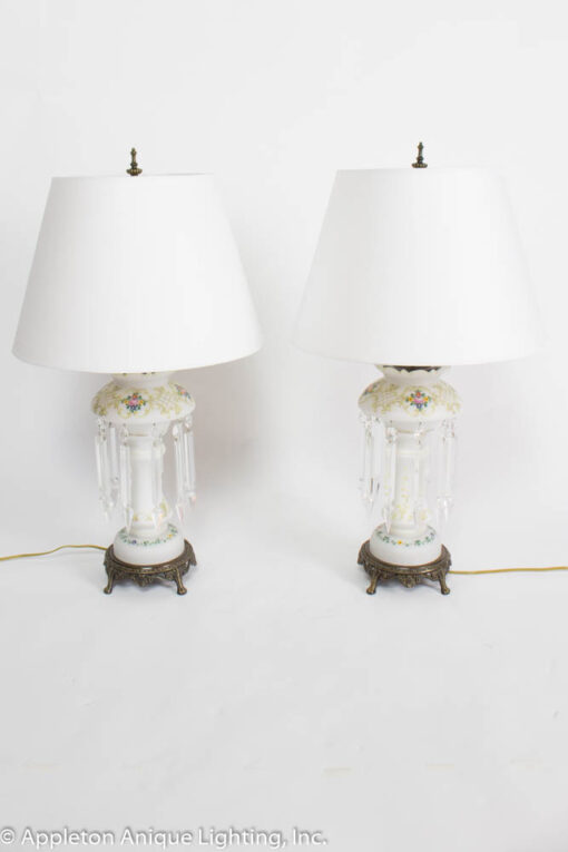 T270- Pair of Victorian White Lustre Lamps