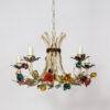 C409: Five Arm Colorful Rosebud Tole Chandelier