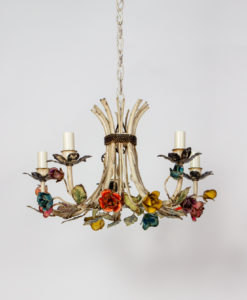 C409: Five Arm Colorful Rosebud Tole Chandelier