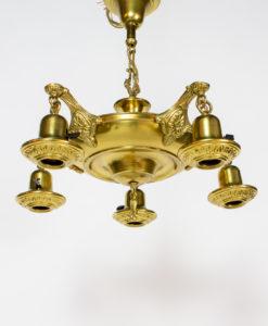 C418: Five Light Brass Pan Light