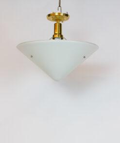 P244: White Milk Glass Conical Pendant