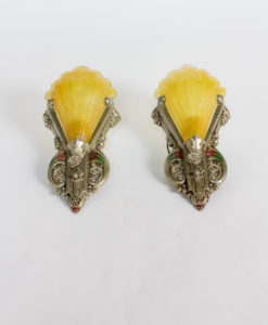 S251: Pair of Art Deco Silver and Polychrome Slipshade Sconces