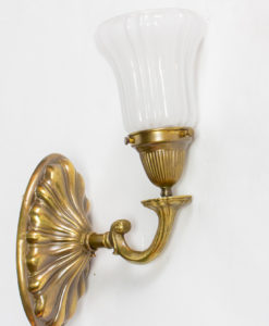 S259: Sheffield Style Early Electric Brass Sconces, Four Available