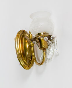 S274: Colonial Revival Brass Sconces with Original Glass Shades and Crystal
