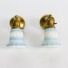 S275: Pair of Brass Sconces with Blue Glass