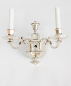 S314: Silver Two Arm Sconces with Switches, Attributed to E.F. Caldwell