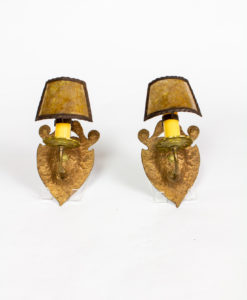 S324: Pair of Hammered Copper and Brass Arts and Crafts Sconces with Mica Shades