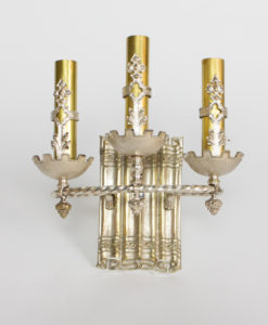 S345: Three Light Silver Sconce With Brass Accents, One of a Kind