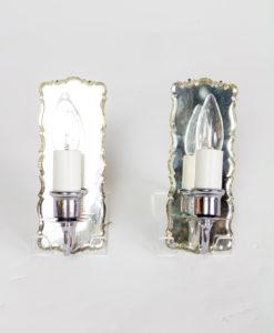 S354: Pair Vintage Mirror Sconces