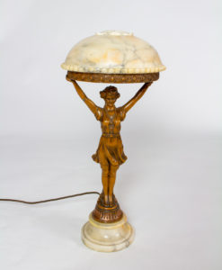T275: Art Deco Alabaster Figurine Lamp