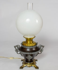 T276: Bradley and Hubbard Oil Lamp with White Shade
