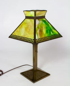 T277: Bradley and Hubbard Base with Green Slag Glass Shade