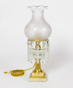 T280: Glass and Marble Astral Lamp with Colonial Crystals