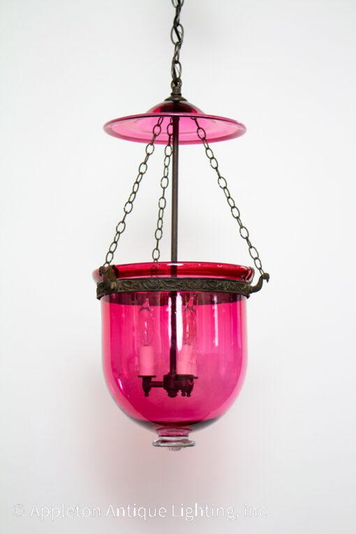 19th Century Cranberry Glass Bell Jar