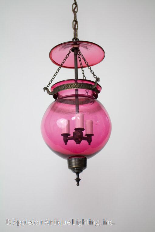 Val St. Lambert Cranberry Glass Bell Jar