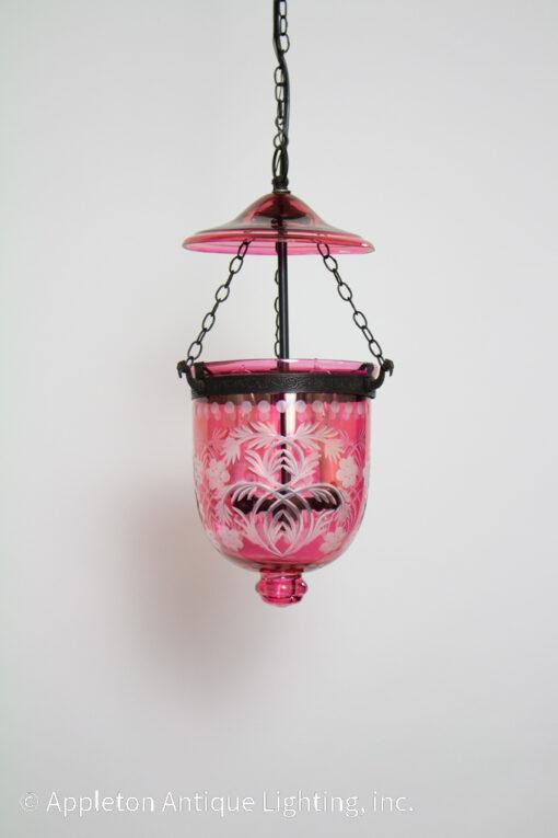 Reproduction Cranberry Glass Bell Jar Lantern