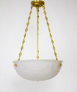 Neoclassical White Cast Glass Bowl Light