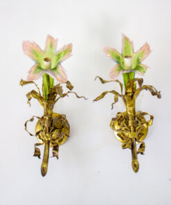 Venetian Glass and Gilt Metal Sconces - A Pair