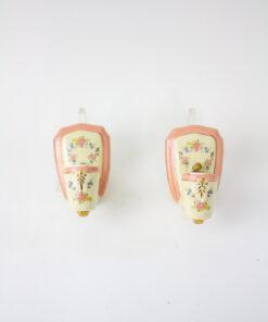 Art Deco Floral Porcelain Sconces - a Pair