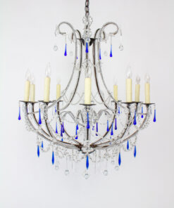 Aurora Grande Large Chandelier with Cobalt Crystals
