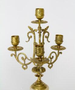 Three Arm Brass Candelabra with Onyx Bases