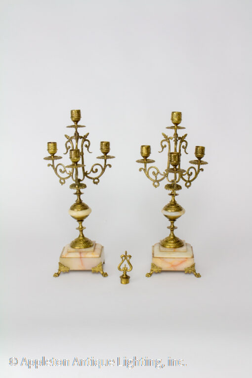 Three Arm Brass Candelabra with Onyx Bases