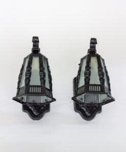 Early 20th Century Black Exterior Lantern Sconces - a pair