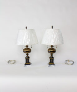 T298: Pair of Neoclassical Revival Brass and Black Resin Lamps